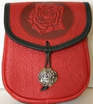 Rose Leather Belt Pouch (Medium)