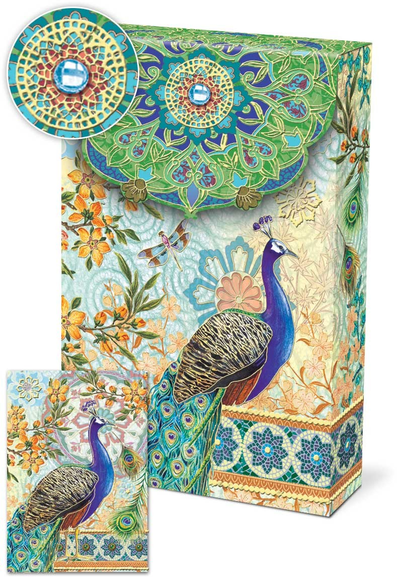 Royal Peacock Decorative Pouch Notecards Punch Studio