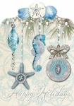 Sea Blue Ornaments Christmas Cards