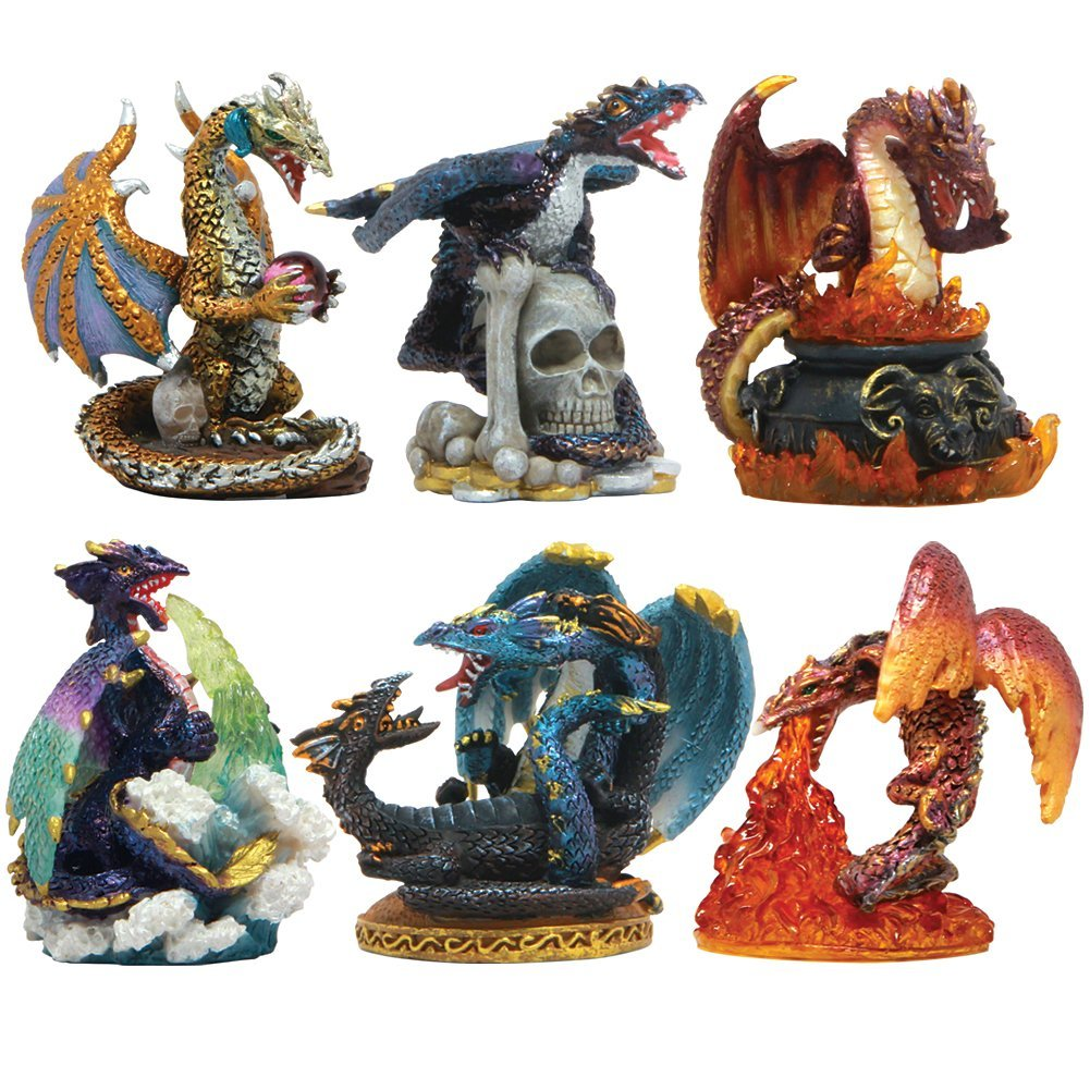 Set Of Six Small Dragons Dragon Figurines Fairyglen Com
