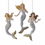 Silver & Gold Mermaid Ornament Trio