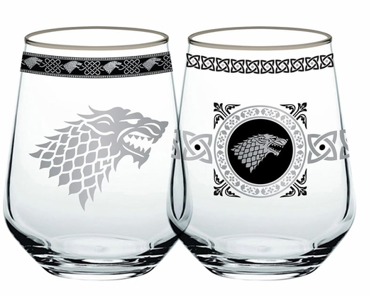 Stark Stemless Wineglass Set: Game of Thrones