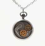 Steampunk Compass Gear Necklace