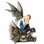 Steampunk Fairy on a Dragon Skull