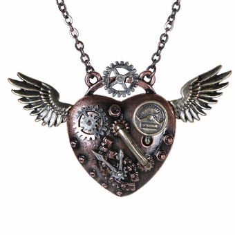 Steampunk Heartwing Necklace