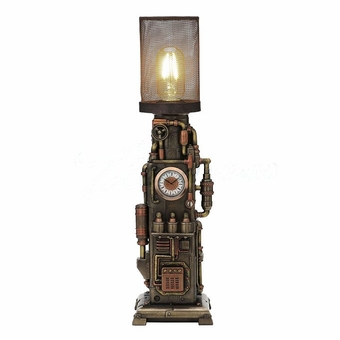 Steampunk Mesh Beacon Clock Lamp