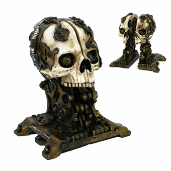 Steampunk Skull Bookends