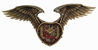 Steampunk Winged Heart Clock