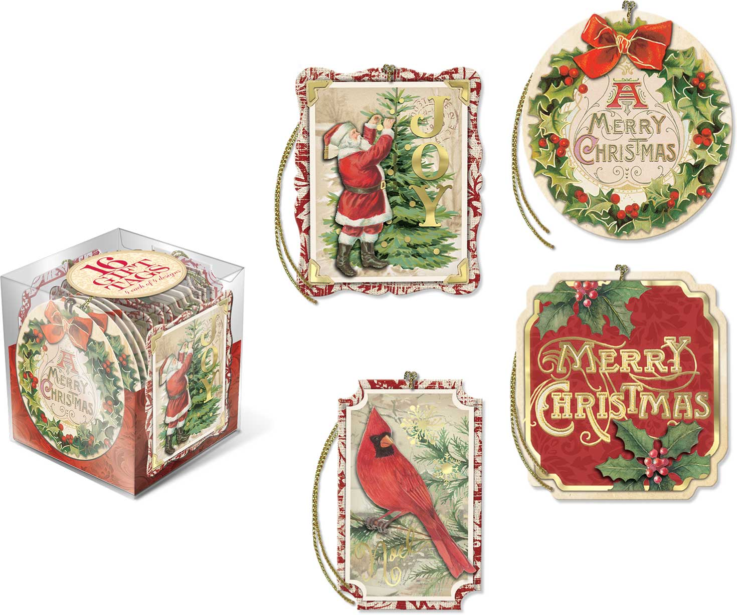 Vintage Holiday Gift Tag Cube: Punch Studio Gifts: FairyGlen.com