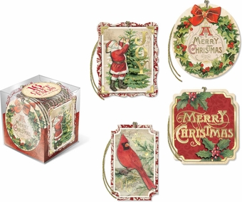 Vintage Holiday Gift Tag Cube