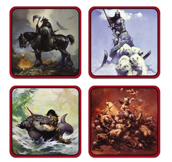 Warriors Fire And Ice Word Count: Warriors Coaster Set: Frank Frazetta Gifts & Collectibles