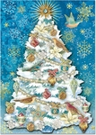 White & Blue Tree Christmas Cards