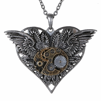 Winged Steampunk Heart Necklace