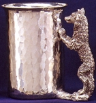 Wolf Hammered Pewter Stein