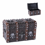Wooden Pirate Skull Chest