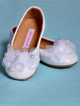 3 Pearl-Floral Accented Flower Girl Shoes in White