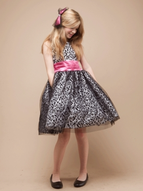 Animal Print Tulle Dress with Satin Sash