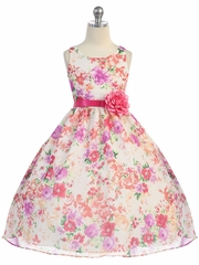 Beautiful Organza Floral Dress with Satin Sash & Pin on Flower