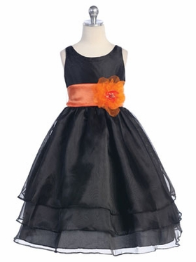 Black 3-Tier Organza Flower Girl Dress
