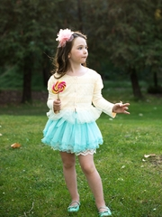 Blue Lace Tutu Skirt For Toddler