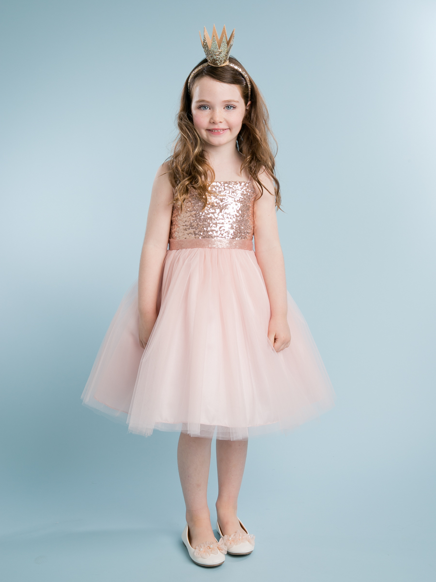 Baby girl pink sequin dress - Blush Sequin Top Dress With Tulle Skirt