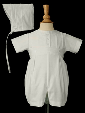 Boys Cotton Romper with Round Collar