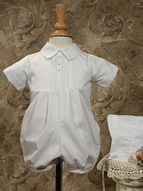 Boys Polycotton Christening Romper with Pin Tucking