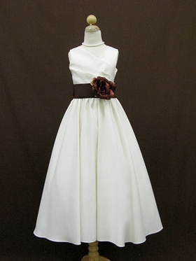 Bridal Satin Sash Flower Girl Dress