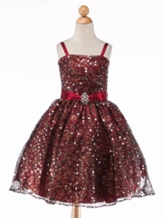 Burgundy Holiday Sequin Mesh With Pin-on Broach