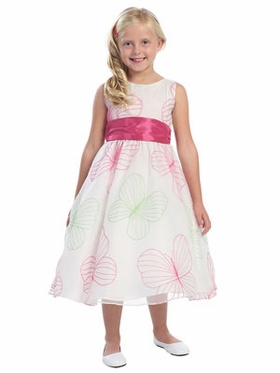 Butterfly Embroidered Organza Flower Girl Dress