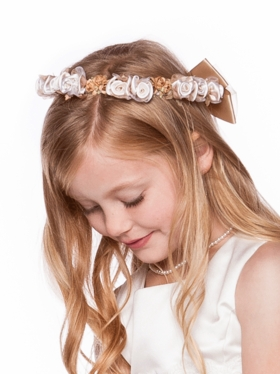 Champagne Silk Floral Head Wreath for Flower Girl