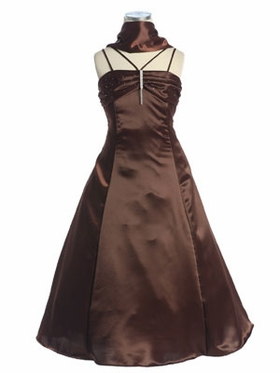 Chocolate Ruched Bodice Flower Girl Dress