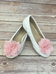 Cute Quilted Flower Girl Shoes With Chiffon Flower