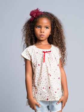 Cute Top With Stars and Satin Ribbon