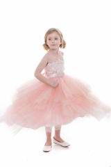 Dazzling Tulle Layered Skirt With Applique and Removable Sash
