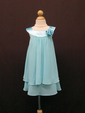 Double Layered Flower Girl Dress in Turquoise