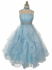 Elegant Organza Dress with Ruched Top and Matching Shawl