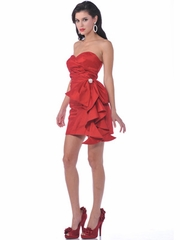 Elegant Red Pleated Short Prom Dress