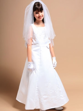 Elegant Satin w/Embroidred Bead Communion Dress