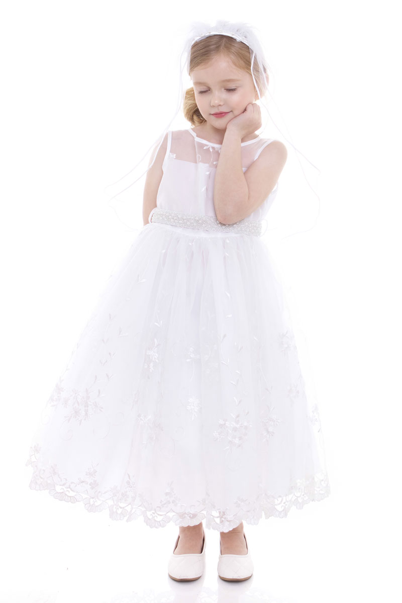 embroidered communion dress with pearl belt