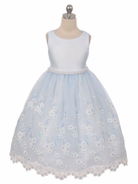 Embroidered Satin and Organza Dress with Pearl Trim