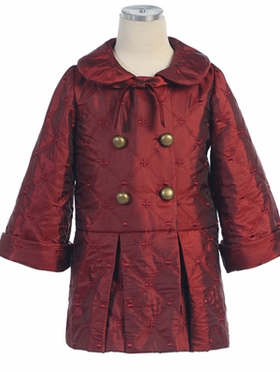 Embroidred Quilted Coat with Buttons