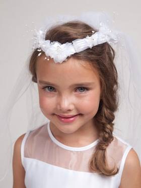 Flower & Ribbon Accented First Communion Veil