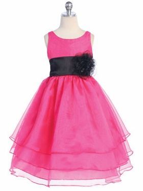 Fuchsia 3-Tier Organza Flower Girl Dress