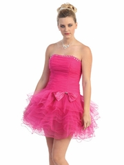 Fuchsia  Muti-Layered Tulle Short Party Dress