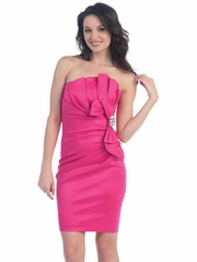 Fuchsia Ruched Bodice Short Prom Dress