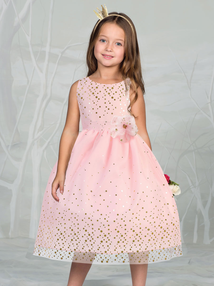 Gorgeous Mesh Flower Girl Dress with Gold Dots - EASTER GIRL DRESSES