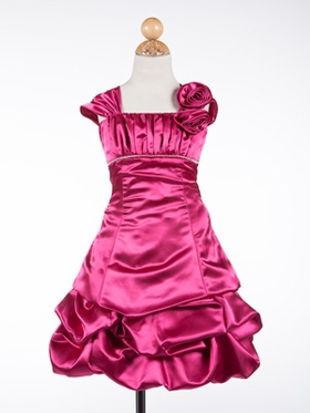 Gorgeous Satin Ruched Short  Bubble Flower Girl Dress