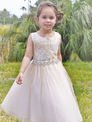 Gorgeous Silk Top Dress With Full Tulle Skirt
