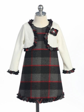 Grey Tartan Winter Girl Dress